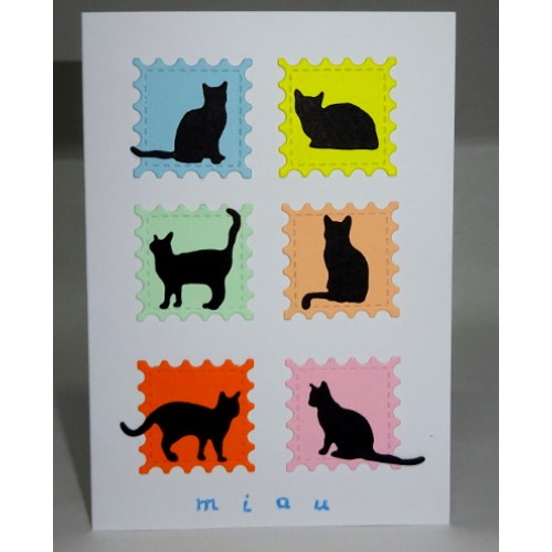 Felicitare cu 6 pisici negre F2004