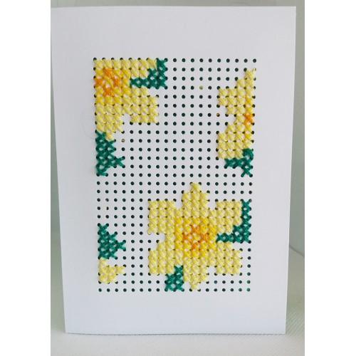 Felicitare cusuta manual pe hartie, flori galbene, F4004