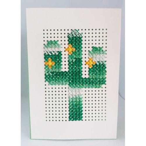 Felicitare cusuta manual pe hartie, cactus, F4012