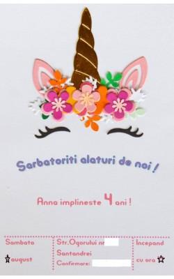 Invitatie la party, cu unicorn, F5201
